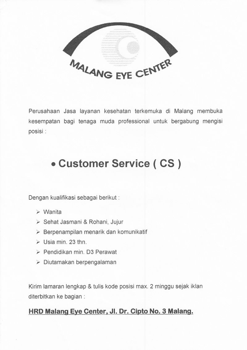 Lowongan Customer Service Cs Di Malang Eye Center Karir D3 Keperawatan